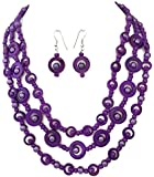 Purple 3 Row Layered Glass Shell Bead Statement Necklace Earrings Set