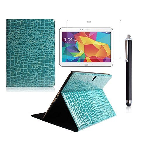Boriyuan Stylish Ultra Slim Lightweight Portable Protective Flip Folio Pu Leather Carrying Case Cover With Viewing Stand Holder Feature For New 2014 Samsung Galaxy Tab S 10.5 Inch T800 T805 Tablet With A Free Stylus Touch Screen Pen (Crocodile Pattern Blu front-211295