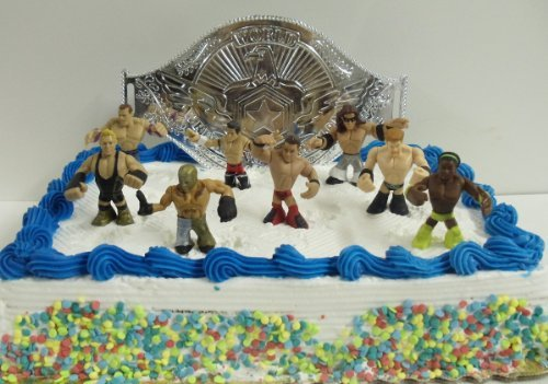 все цены на WWE Wrestler Rumblers Wrestling Birthday Cake Topper Set Featuring 8 RANDOM WWE Rumbler Figures and Unique Wrestling Championship Belt Cake Decorative Piece онлайн