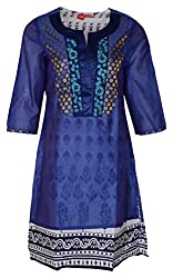 Zele Women's Straight Kurti (Z0004-B_Multi-Colour_Large)
