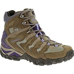 Merrell Women\'s Chameleon Shift Mid Waterproof Hiking Boot, Stucco/Purple, 10 M US