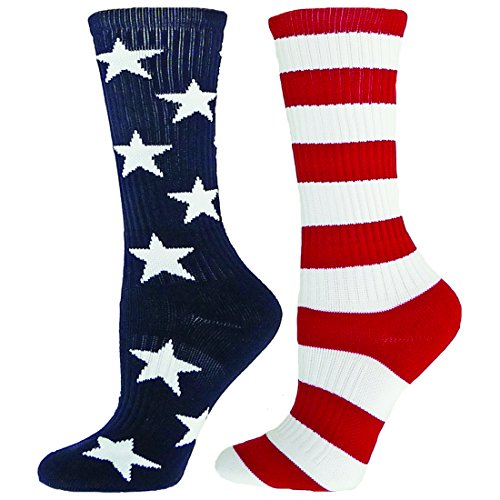 Red Lion Freedom Mismatched Crew Socks American Flag ( Navy/White/Red - Medium )