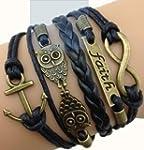Bracelet Infini Ancre et Hiboux / Inf...