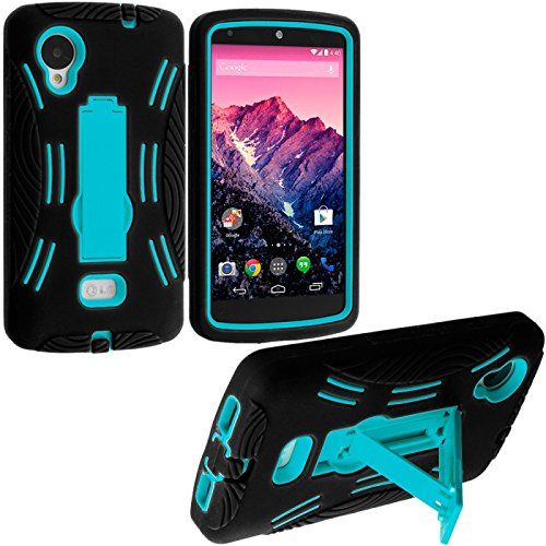 Cell Accessories For Less (Tm) Black / Baby Blue Hybrid Heavy Duty Hard/Soft Case Cover With Stand For Lg Google Nexus 5 - By Thetargetbuys front-814001