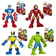 Playskool Marvel Super Hero Adventures Figure Set - Wolverine, Hulk, Captain America & Iron Man