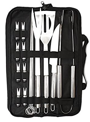 CookWithTech - FLASH SALE - 18 Piece Barbecue Tool Set with Case - The Best Grill Tool Accessories Set - Lightweight and Strong