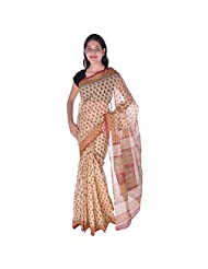 Fab Rajasthan Cotton Kota Doria Hand Block Block Bagru Print Saree (BS130_Brown)