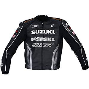 Joe Rocket Superbike Men's Suzuki Replica Road Race Motorcycle Jacket - Black/Gun Metal/Silver / Size 48