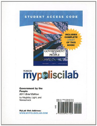 MyPoliSciLab with Pearson eText -- Standalone Access Card -- for Government by the People, Brief Edition  (9th Edition)
