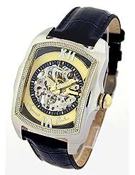 "Auguste Galan MECCANIX TTS Mens Mechanical ""Skeleton"" Watch with Black Strap. Model: AG-0566"