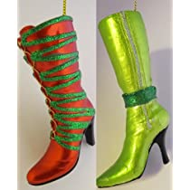 Two 4 inch High Heel Boot Ornaments