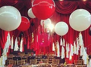 36 Inch Latex Balloon White (Premium Helium Quality) Pkg/6 by PMU