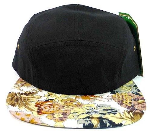 5-panel-floral-camp-hats-caps-fashion-black-brown-flowers
