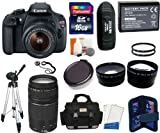 Canon EOS Rebel T5 Digital Camera SLR Kit With Canon EF-S 18-55mm IS II + Canon 75-300mm III Lens + 16 GB Card and Reader + Camera and Lens Case + Spare Battery Pack + 2 58mm UV Filters + .45x Wide Angle Lens (58mm) + 2.5x Telephoto Lens (58mm) + Tripod + Digital Camera Cleaning Kit + Accessory Kit