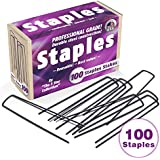 100 6-Inch Garden Landscape Staples / Stakes / Pins - Made in USA - Strong Pro Quality Built to Last. Best Weed Barrier Fabric, Lawn Drippers, Irrigation Tubing, Wireless Dog Fence