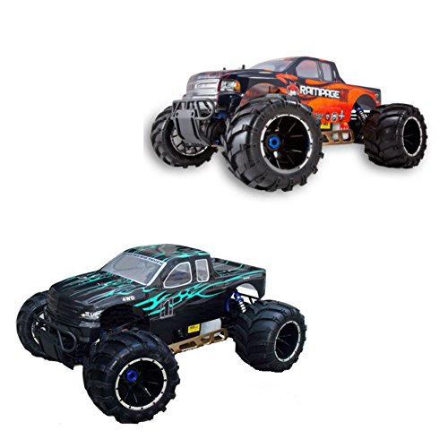 Redcat Rampage MT V3 Gas Truck 2-Pack, Green/Flame and Orange/Flame Bundle, 1/5 Scale (Traxas Tires compare prices)