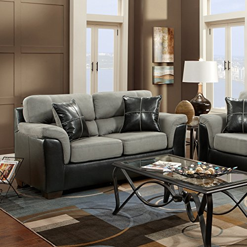 Roundhill Furniture Laredo 2-Toned Sofa and Loveseat Living Room Set, Black and Grey