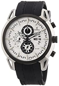 Festina Men's Crono F6820/1 Black Silicone Analog Quartz Watch with White Dial