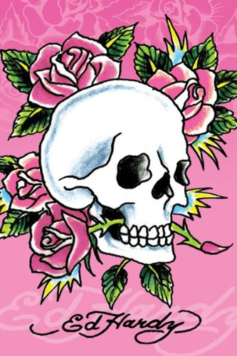 Ed Hardy-Pink Skull and Roses, Art Poster Print, 24 by 36-Inch