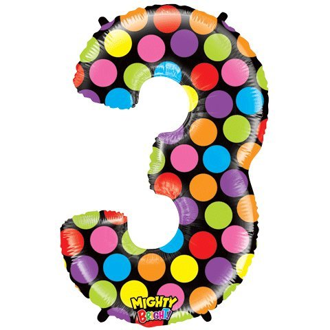 "Number Three Mighty Bright Polka Dot Megaloon 40"" Mylar Foil Balloon"
