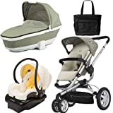 Quinny BUZ3BFYTRV1 Buzz 3 Travel System and Bassinet in Natural Cream with Diaper Bag