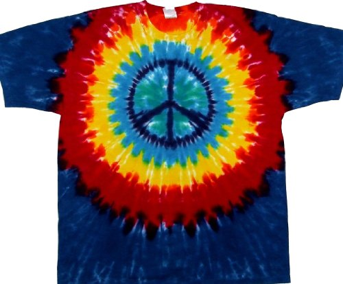 Tie Dyed Shop Peace Sign Tie Dye T Shirt- Rainbow Colors - Shortsleeve -Medium-Multicolored