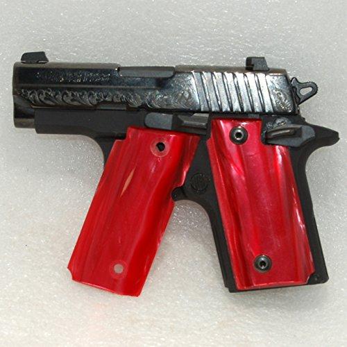 Sig Sauer Gun / Pistol Grips, Sig P238 Grips, Kirinite, Red Mother of Pearl