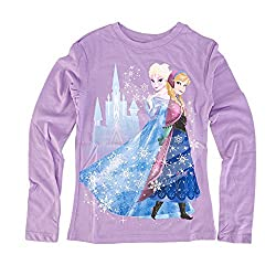 Disney Frozen Anna and Elsa Castle Juniors Purple T-Shirt | XL