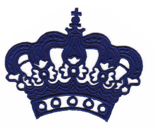 Dark Blue Crown Princess Sew-On Iron-On Patches Embroidered Applique Kids Baby Clothes