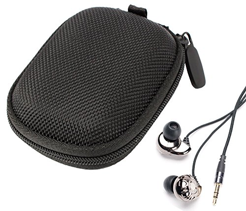 Duragadget Hard Eva Protective Storage Case / Bag For Headphones & Earphones In Black For Monoprice Enhanced Bass Hi-Fi Noise Isolating Earphone