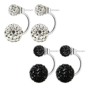 Stainless Steel Bling Bling Double Rhinestones Crystal Fireball Disco Ball Front Back Hoop Stud Earrings, Hypoallergenic (01. Diamond White + Jet Black)
