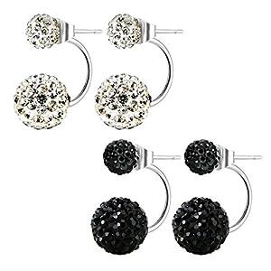 Stainless Steel Bling Bling Double Rhinestones Crystal Fireball Disco Ball Front Back Hoop Stud Earrings, Hypoallergenic (01. Diamond White + Jet Black)
