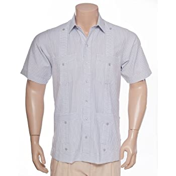 Deluxe Short sleeve white-grey stripped Guayabera Shirt