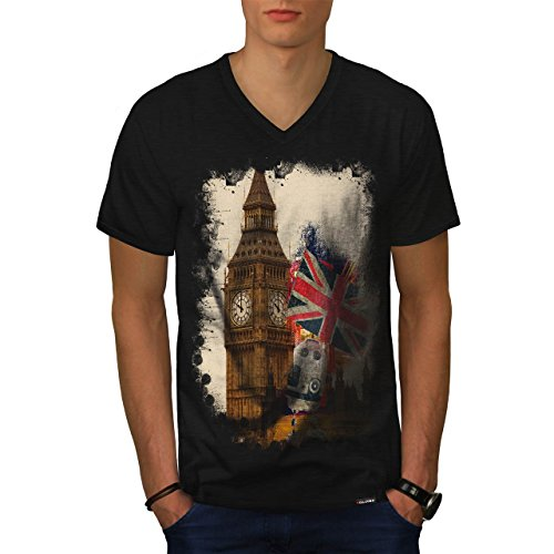 London City England Union Jack Men NEW Black L V-Neck T-shirt | Wellcoda