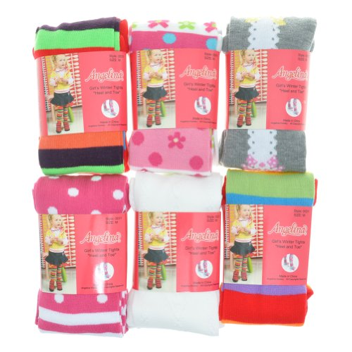 Angelina 6-Pack Girls Winter Tights [Heel and Toe] Assorted Patterns #0031