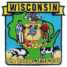 Usa Novelty Embroidered Iron On Patch - 50 United States Historical Collection - 1848 Wisconsin The Badger Stateapplique