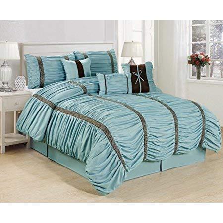 Townhouse Unique Home Calinda 7 Piece Comforter Set Bed in a Bag Bedding Comforter Duvet, Fade Resistance, Super Soft (Queen, Blue)