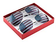 American Flag USA Classic Teardrop Metal Aviator Sunglasses (Silver + Silver)