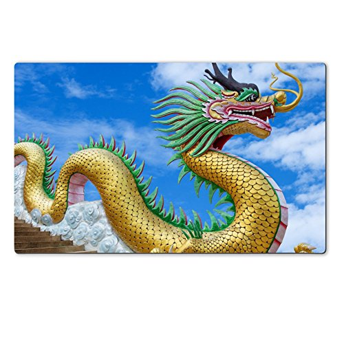 MSD Natural Rubber Large Table Mat 28.4 x 17.7 x 0.2 inches IMAGE ID 20212753 Giant chinese style dragon statue on blue sky background