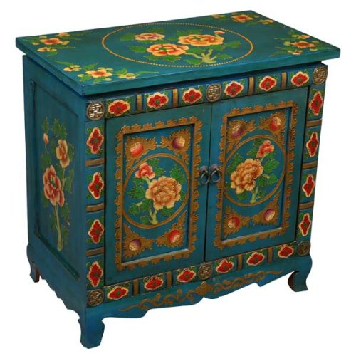 Cheap EXP Handmade Furniture – Antique-Style 23″ Teal Tibetan Storage Cabinet / End Table W Peony Design (B001JI8UT0)