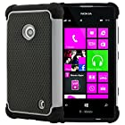 CellJoy® Triple Defender Layered Armor Back Cover Case for Nokia Lumia 521 (At&t / Metro / T-Mobile / Cricket) ***WILL NOT FIT LUMIA 520*** [CellJoy Retail Packaging] (Gray / Black)