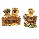 WELCOME 犬 置物 ウェルカム犬 玄関 インテリア アニマル グッズ ウェルカム ポリドッグ (Aセット)