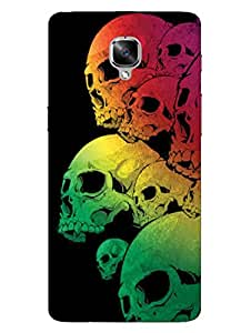 Skull - Colorful - Gothic - Hard Back Case Cover for OnePlus Three - Superior Matte Finish - HD Printed Cases and Covers