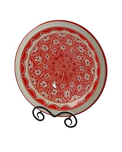 Le Souk Ceramique Nejma Medium Serving Bowl, Red/White