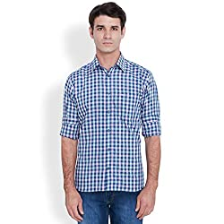 Park Avenue Men's Casual Shirt (8907251112952_PCSX00841-B7_42_Dark Blue)