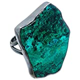Chrysocolla, Chrysocolle Argent Sterling 925 Bague 8.75
