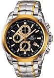 Men's Two Tone Stainless Steel Edifice Black Dial Chronograph