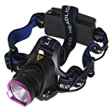 SecurityIng High Power 500LM LB-XL T6 LED 3-Modes Bicycle Headlamp with Charger Adapter for Outdoor Activities
