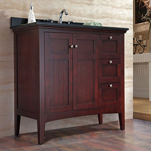 Ove Gavin-42 Bathroom 42-Inch Vanity Ensemble With Black Granite Countertop And Ceramic Basin, Tobacco