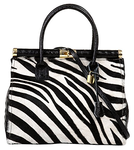 Giulia Women'S Italy Genuine Leather Handbag Zebra